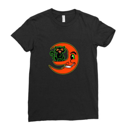 Black Cat Moon Ladies Fitted T-shirt Designed By Sr88