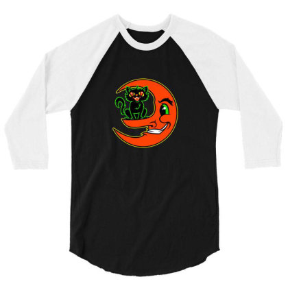 Black Cat Moon 3/4 Sleeve Shirt Designed By Sr88