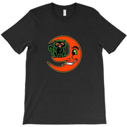 Black Cat Moon T-shirt Designed By Sr88