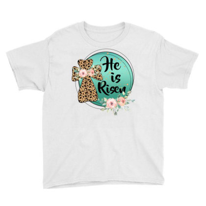 He Is Risen Cross Youth Tee Designed By Badaudesign