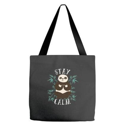 Stay Calm Panda Tote Bags Designed By Dirjaart