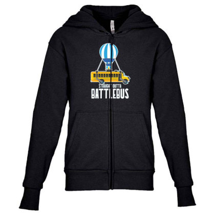 Straight Outta Battlebus Parody Youth Zipper Hoodie Designed By Dirjaart