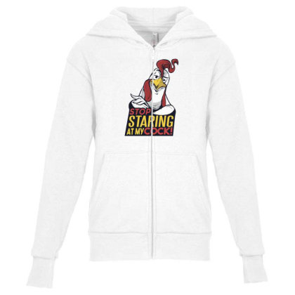 Stop Staring Youth Zipper Hoodie Designed By Dirjaart