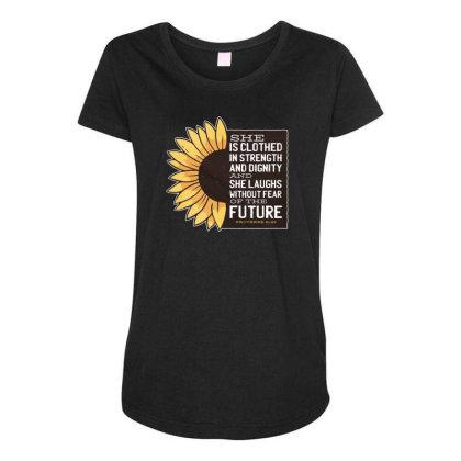 Sunflower Maternity Scoop Neck T-shirt Designed By Dirjaart