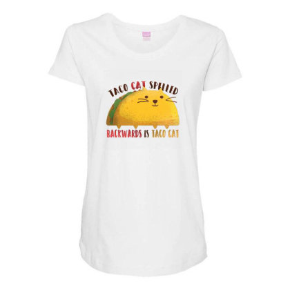 Taco Cat Maternity Scoop Neck T-shirt Designed By Dirjaart