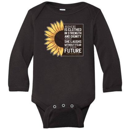 Sunflower Long Sleeve Baby Bodysuit Designed By Dirjaart