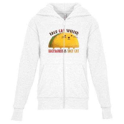 Taco Cat Youth Zipper Hoodie Designed By Dirjaart