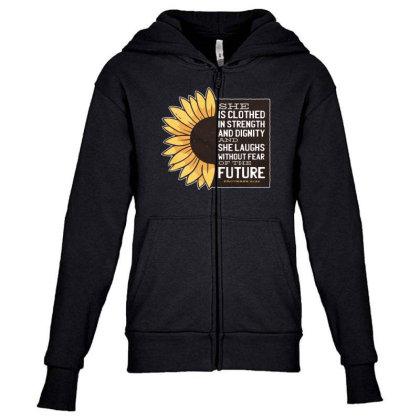 Sunflower Youth Zipper Hoodie Designed By Dirjaart