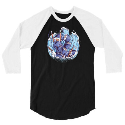 Sushi Dragon 3/4 Sleeve Shirt Designed By Dirjaart