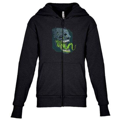 Terrifying Alien Youth Zipper Hoodie Designed By Dirjaart