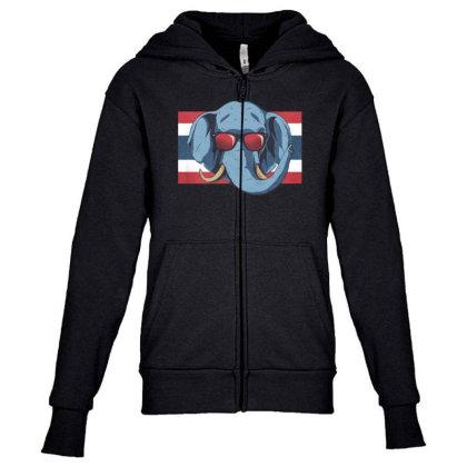 Thailand Elephant Youth Zipper Hoodie Designed By Dirjaart