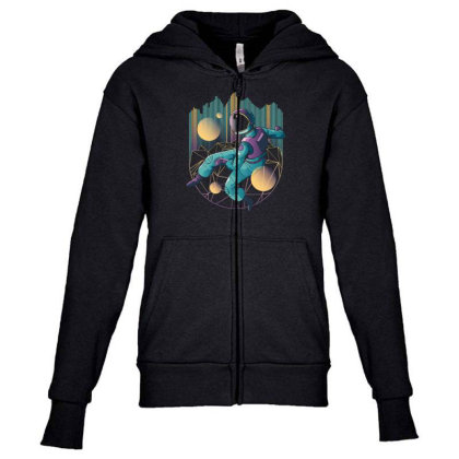 Techno Astronaut Youth Zipper Hoodie Designed By Dirjaart