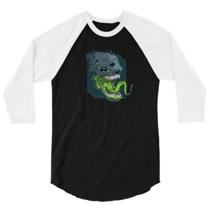 Terrifying Alien 3/4 Sleeve Shirt Designed By Dirjaart