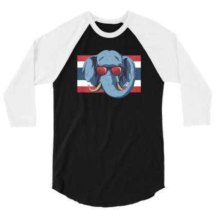 Thailand Elephant 3/4 Sleeve Shirt Designed By Dirjaart