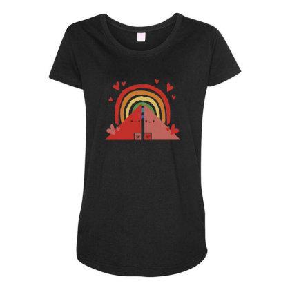 Triangles Rainbow Maternity Scoop Neck T-shirt Designed By Dirjaart