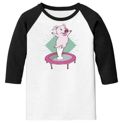 Trampoline Pig Youth 3/4 Sleeve Designed By Dirjaart