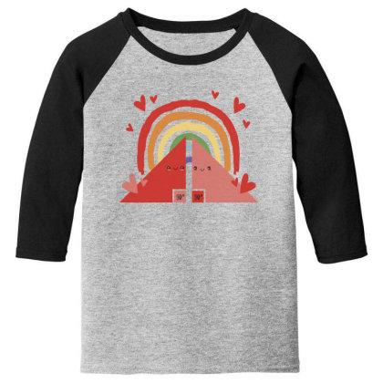 Triangles Rainbow Youth 3/4 Sleeve Designed By Dirjaart