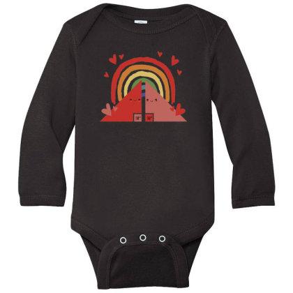 Triangles Rainbow Long Sleeve Baby Bodysuit Designed By Dirjaart