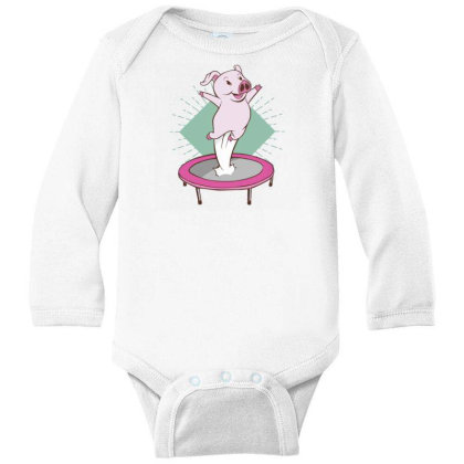 Trampoline Pig Long Sleeve Baby Bodysuit Designed By Dirjaart