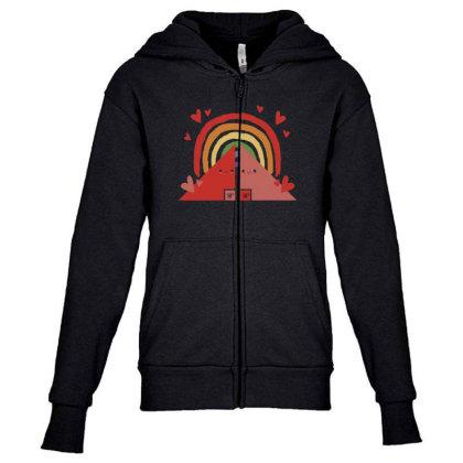 Triangles Rainbow Youth Zipper Hoodie Designed By Dirjaart