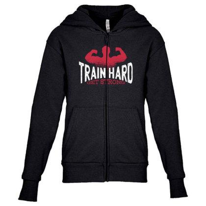Train Hard Youth Zipper Hoodie Designed By Dirjaart