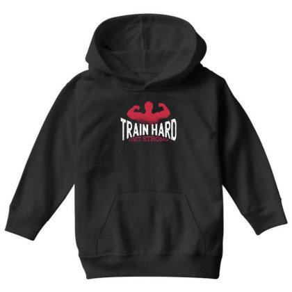 Train Hard Youth Hoodie Designed By Dirjaart