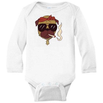 Thug Pug Long Sleeve Baby Bodysuit Designed By Dirjaart