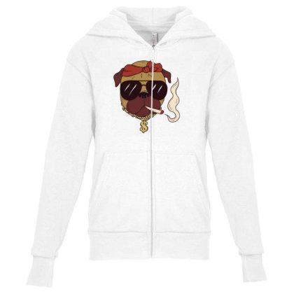 Thug Pug Youth Zipper Hoodie Designed By Dirjaart