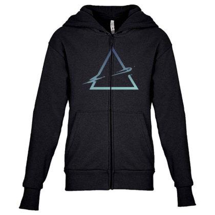 Triangle Abstract Youth Zipper Hoodie Designed By Dirjaart