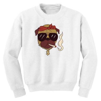 Thug Pug Youth Sweatshirt Designed By Dirjaart