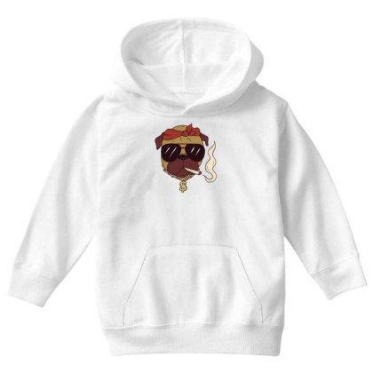 Thug Pug Youth Hoodie Designed By Dirjaart