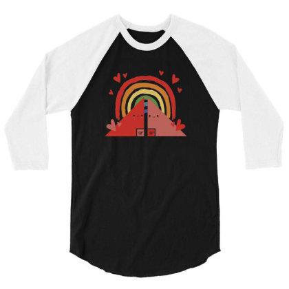 Triangles Rainbow 3/4 Sleeve Shirt Designed By Dirjaart