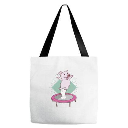 Trampoline Pig Tote Bags Designed By Dirjaart