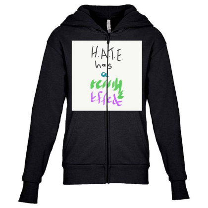 H.a.t.e Youth Zipper Hoodie Designed By Kiss