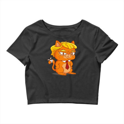 Trump Cat Cartoon Crop Top Designed By Dirjaart