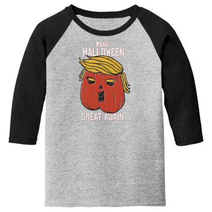 Trumpkin Halloween Pupmkin Youth 3/4 Sleeve Designed By Dirjaart