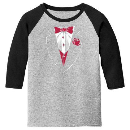 Tuxedo Funny Youth 3/4 Sleeve Designed By Dirjaart