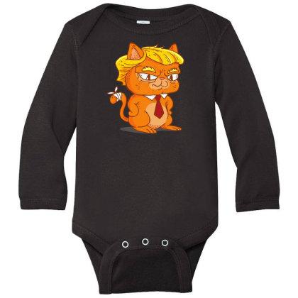 Trump Cat Cartoon Long Sleeve Baby Bodysuit Designed By Dirjaart