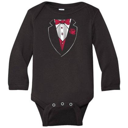 Tuxedo Funny Long Sleeve Baby Bodysuit Designed By Dirjaart