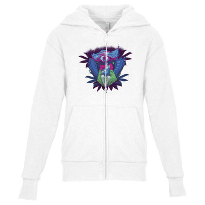 Trippy Portal Youth Zipper Hoodie Designed By Dirjaart