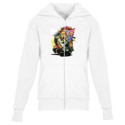 Trump Tank Youth Zipper Hoodie Designed By Dirjaart