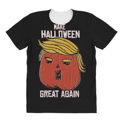 Trumpkin Halloween Pupmkin All Over Women's T-shirt Designed By Dirjaart
