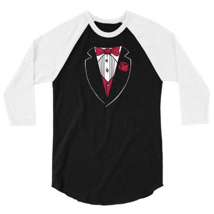 Tuxedo Funny 3/4 Sleeve Shirt Designed By Dirjaart