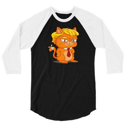 Trump Cat Cartoon 3/4 Sleeve Shirt Designed By Dirjaart