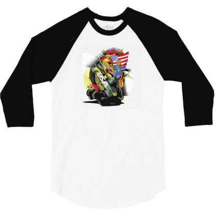 Trump Tank 3/4 Sleeve Shirt Designed By Dirjaart