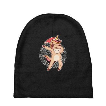 Unicorn Christmas Dabbing Baby Beanies Designed By Dirjaart