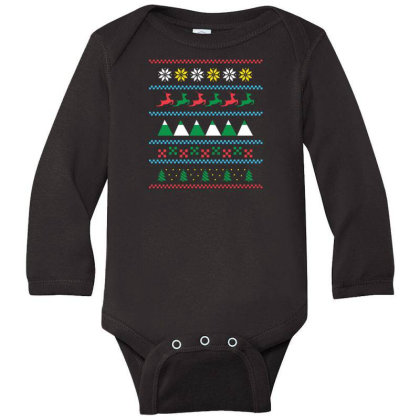 Ugly Sweater Winter Long Sleeve Baby Bodysuit Designed By Dirjaart
