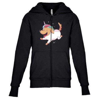 Unicorn Dog Youth Zipper Hoodie Designed By Dirjaart
