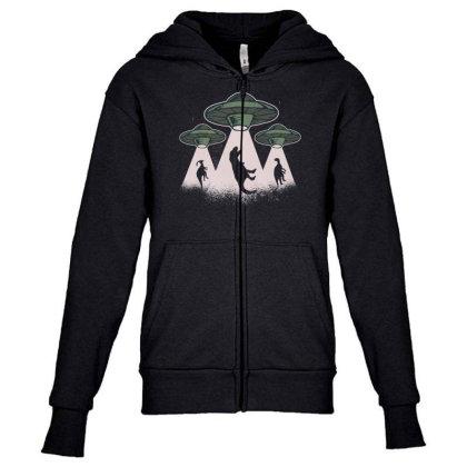 Ufo Dinos Youth Zipper Hoodie Designed By Dirjaart