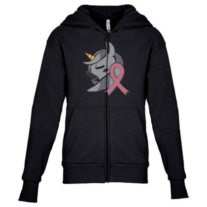 Unicorn Breast Cancer Youth Zipper Hoodie Designed By Dirjaart